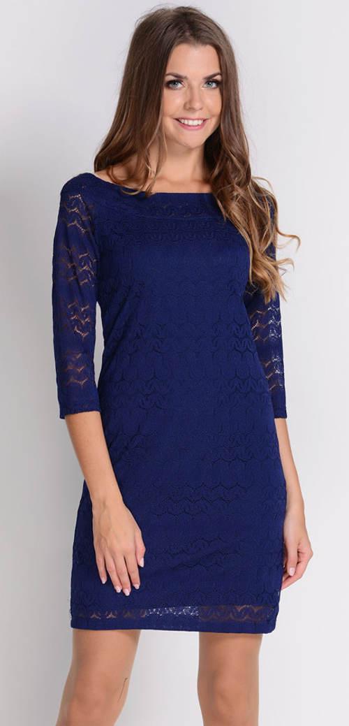 Modré krajkové xxxl šaty