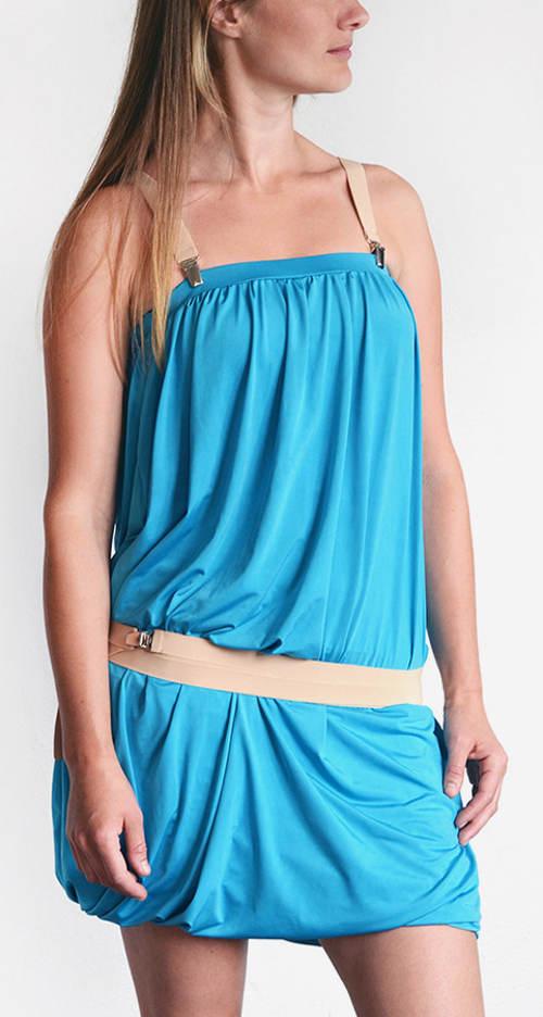 Nabírané dvojité tyrkysové šaty