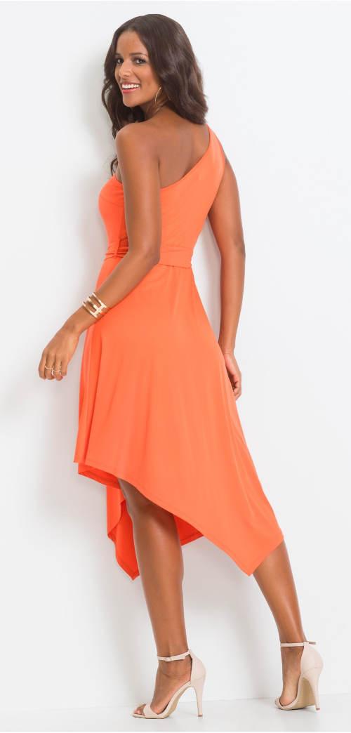 Oranžové asymetrické dámské šaty