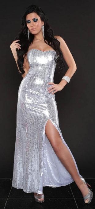 Plesové stříbrné flitrové šaty