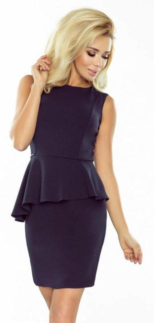 Pouzdrové společenské šaty s asymetrickým volánkem