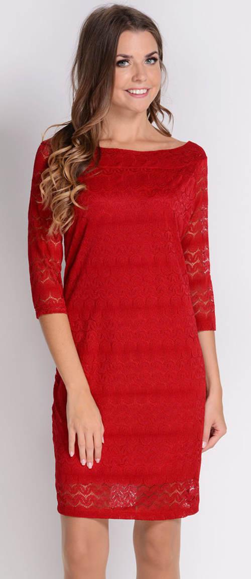 Rovné červené krajkové šaty