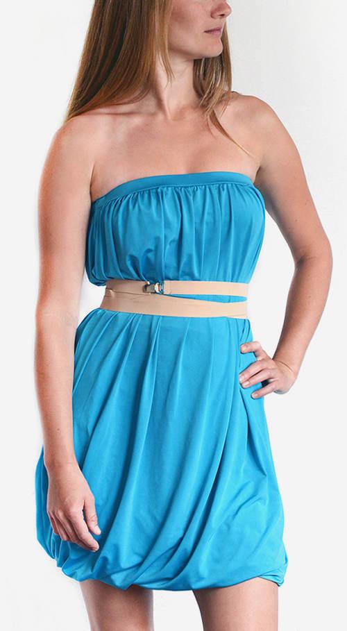 Šaty bez ramínek s balonovou sukní