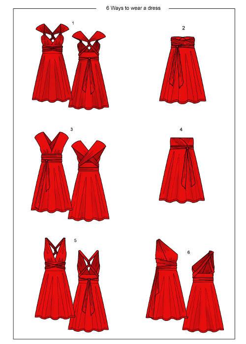 Šaty nositelné na šest různých způsobů