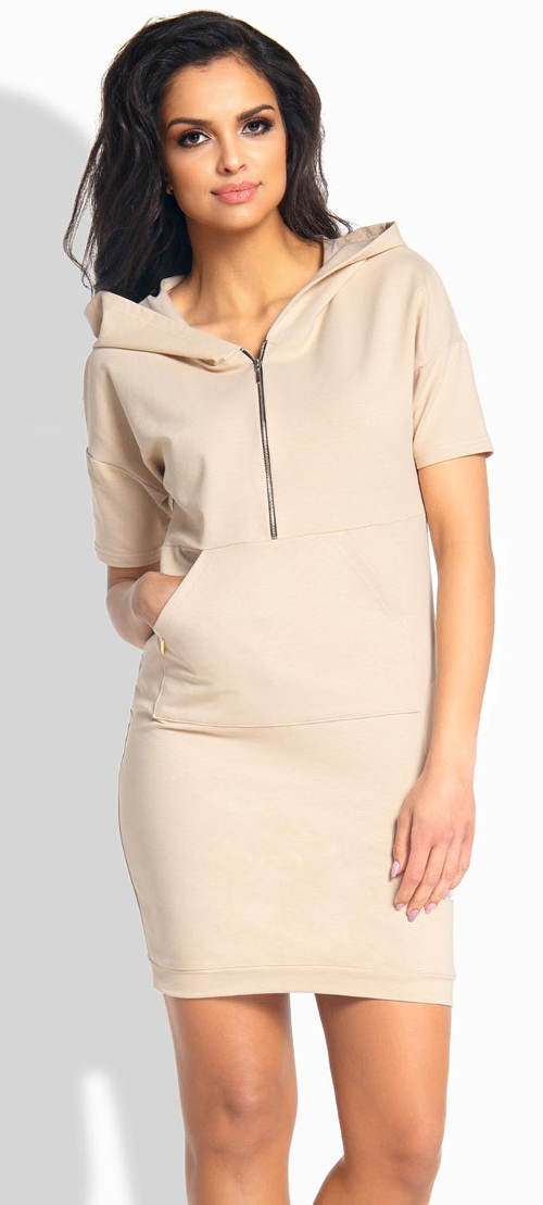 Sportovní dámské šaty s klokaní kapsou