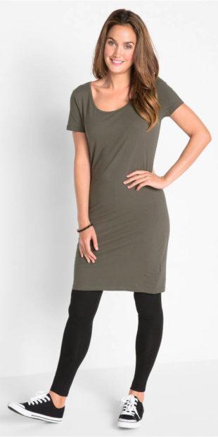 Strečové midi šaty s krátkým rukávem