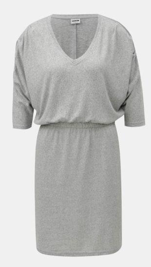 Světle šedé žíhané šaty s gumou v pase