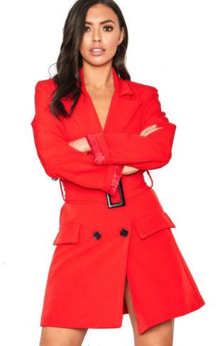 Blazerové šaty imitující červený kabát