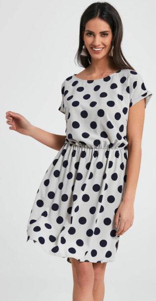 Černobílé puntíkované šaty