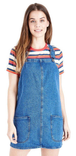 22301b23439f Dámské džínové mini šaty s laclem