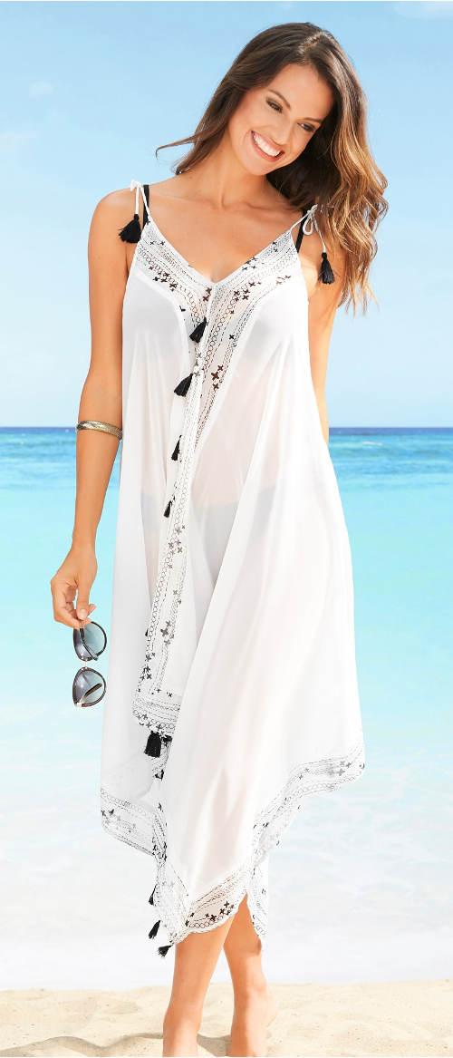 Dlouhé bílé průhledné šifónové šaty