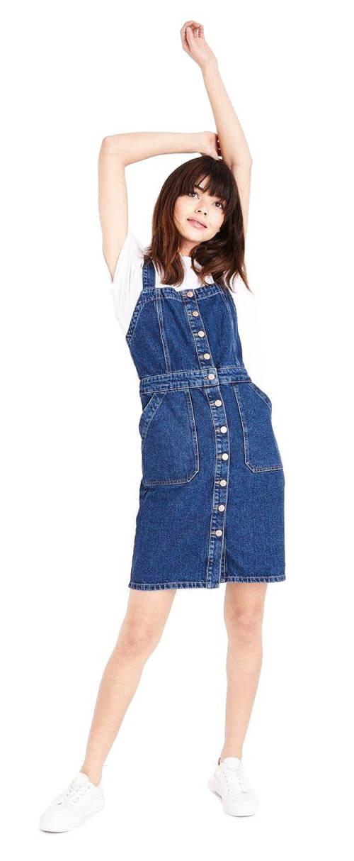 Džínové laclové šaty s knoflíky