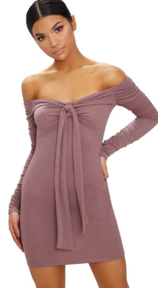 Fialové bardot bodycon šaty