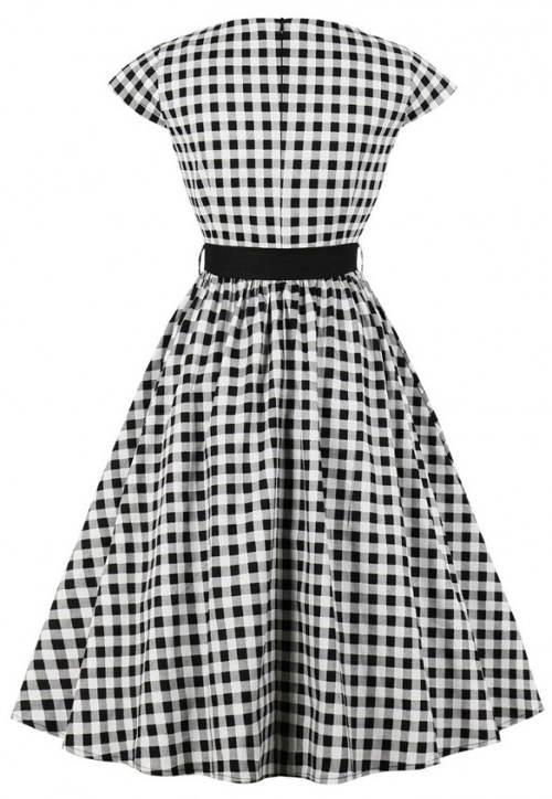 Karované vintage šaty s páskem