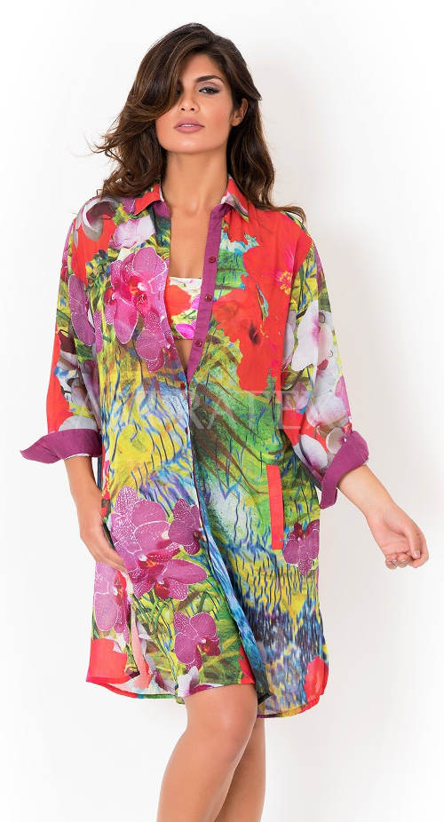 Květované italské plážové košilové šaty