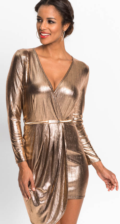Lesklé zavinovací sváteční šaty