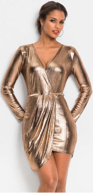 Metalické zlaté plesové dámské šaty