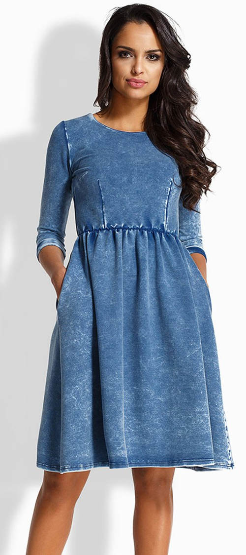 Riflové šaty s dlouhými rukávy
