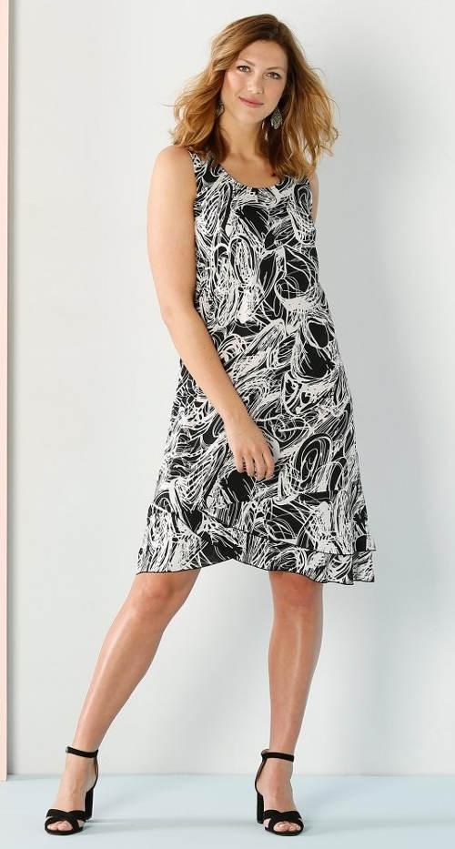 Výprodejové černobílé letní šaty nejen pro starší