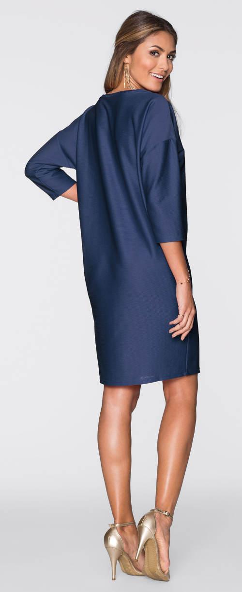 Vzdušné modré lesklé šaty