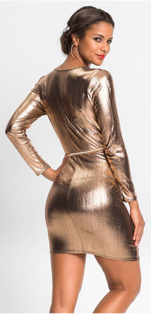 Zlaté plesové mini šaty