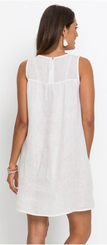 Bílé dámské lněné šaty