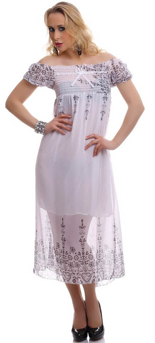 Bílé dlouhé letní šaty s průsvitnou sukní