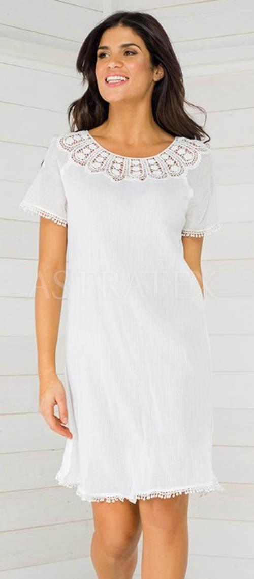 Bílé letní šaty s krajkovým dekoltem