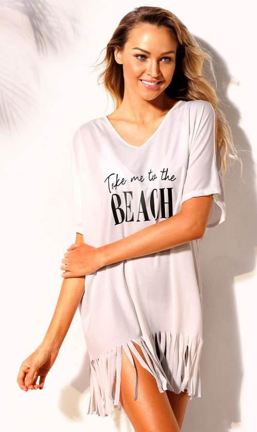 Bílé plážové šaty s potiskem