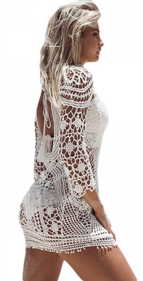 78c44c77eee9 Bílé šaty přes plavky z háčkované krajky