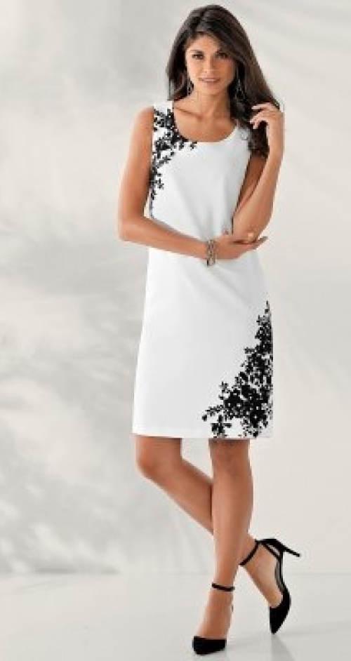 Bílé šaty s černou květinovou výšivkou