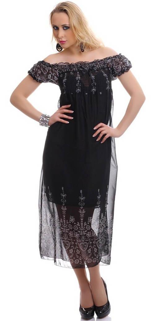 Černé letní šifonové šaty