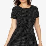 Černé puntíkované retro šaty