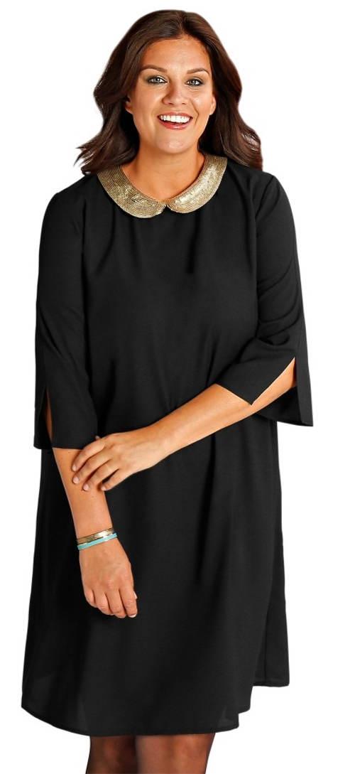 Černé šaty s lesklým flitrovým límečkem