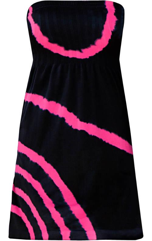 Černo růžové šaty nad prsa