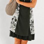 Černobílé letní šaty pro plnoštíhlé