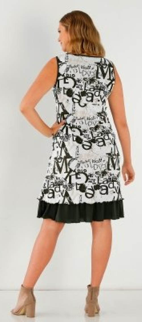 Černobílé šaty s volánovou sukní