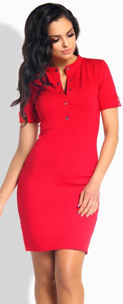Červené letní šaty s krátkým rukávem