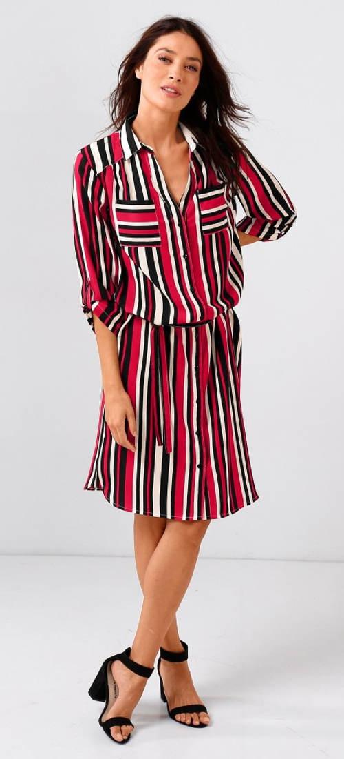 Dámské pruhované šaty košilového střihu
