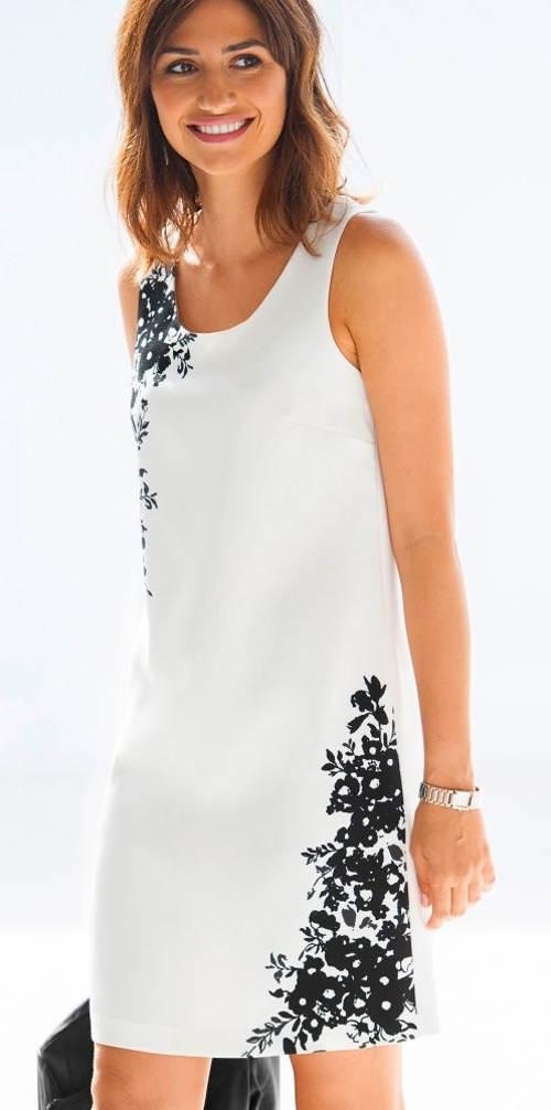 Dvoubarevné elegantní šaty v černo-bílé kombinaci