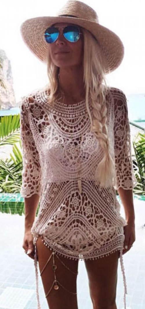 bccbb7c107f6 Háčkované plážové šaty · Bílé ...