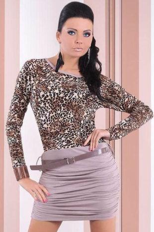 Leopardí minišaty s dlouhým rukávem