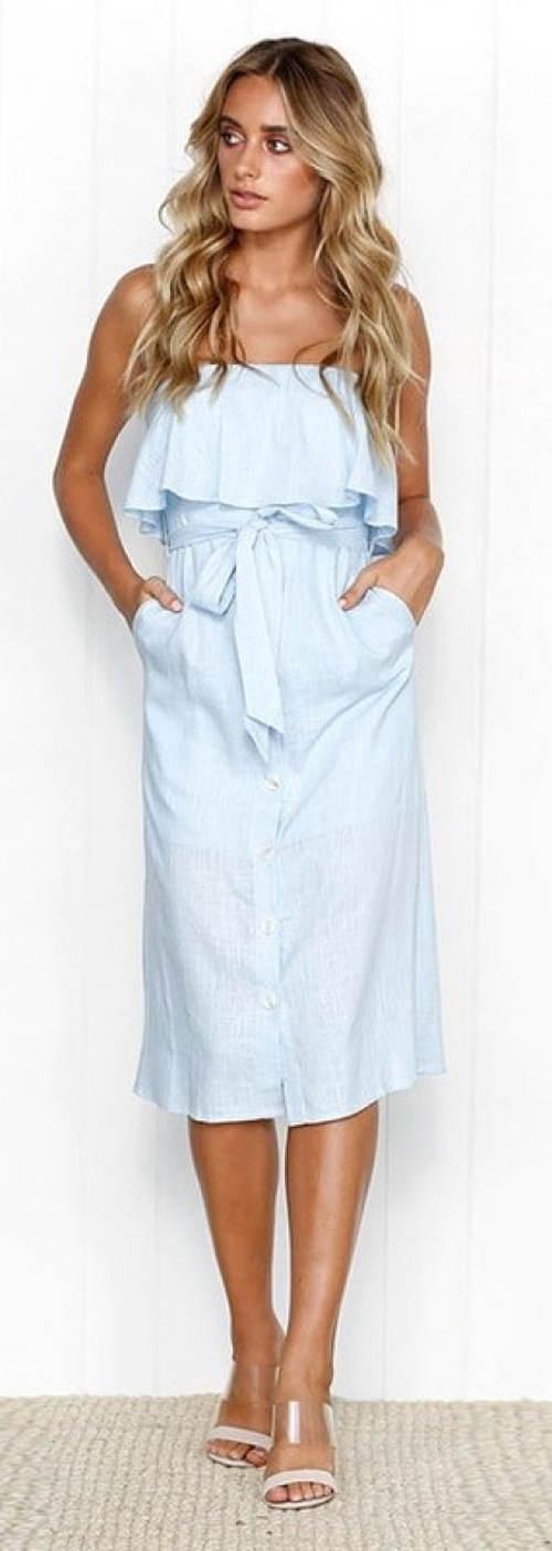 Letní šaty nad prsa s volánkem a mašlí