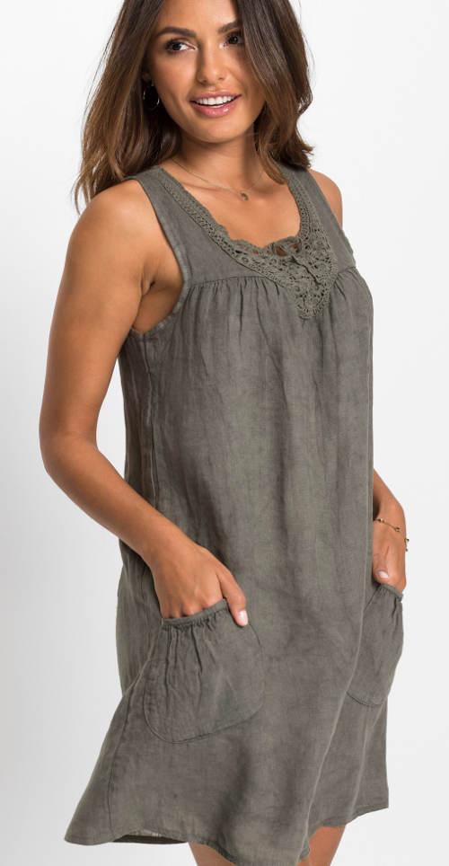 Lněné šaty s krajkou