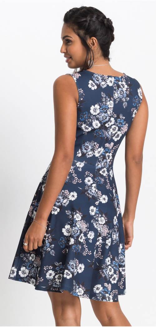 Modré šaty s květinovým potiskem