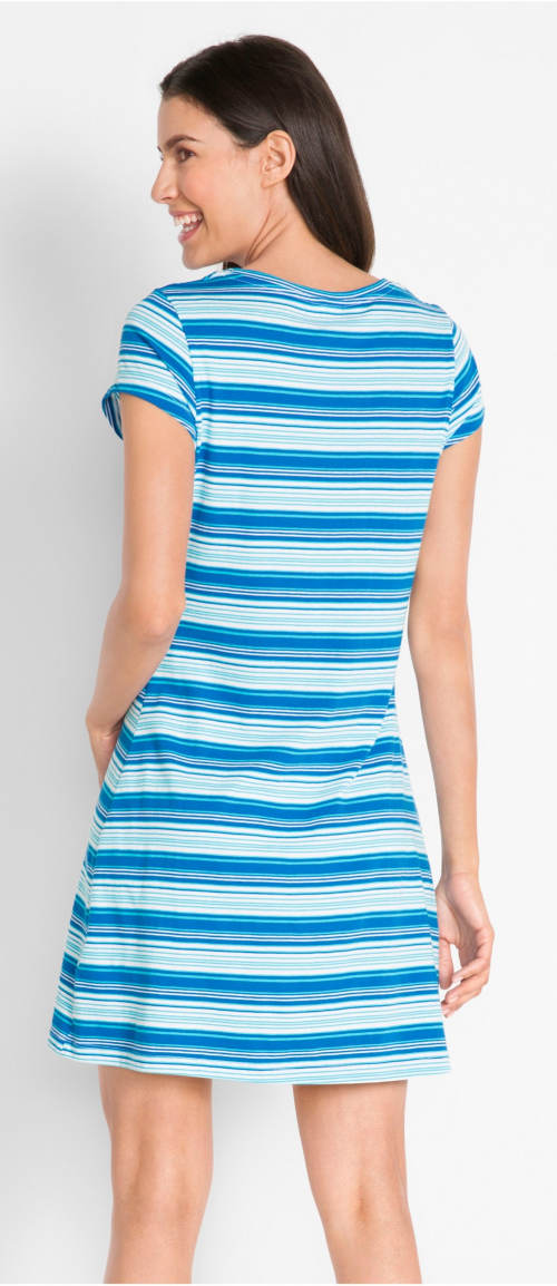 Modro-bílé  dámské šaty s proužky