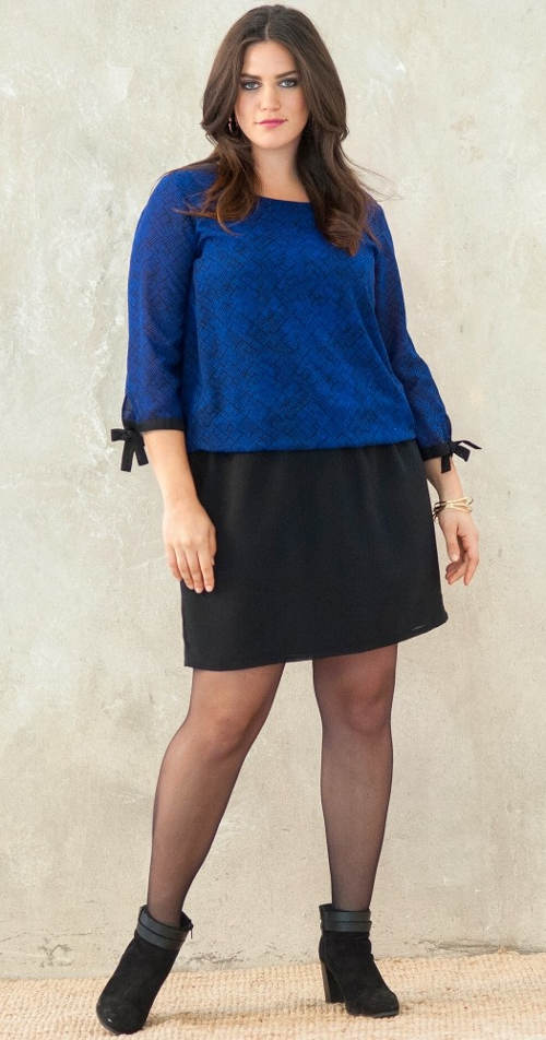 Modro-černé šaty pro silnější postavy
