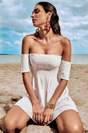 Plážové italské šaty se spadlými ramínky
