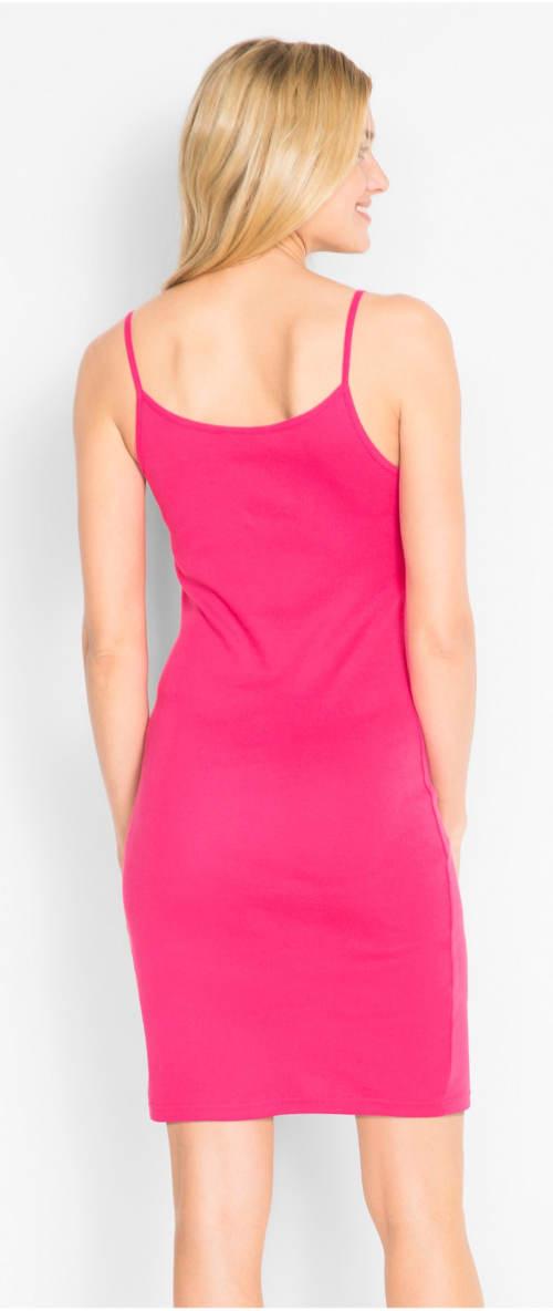 Růžové šaty na tenká ramínka