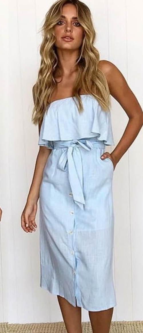 Světle modré letní šaty